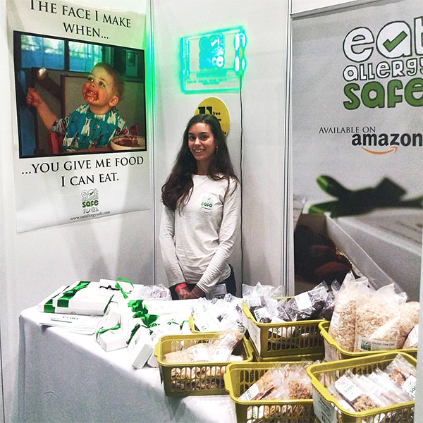 Nina addressing allergy challenges Eat Allergy Safe at the Allergy and Free From Show Liverpool
