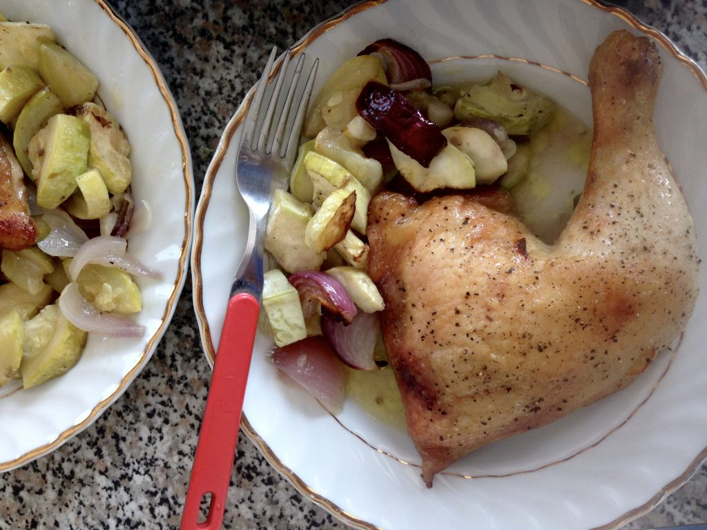 roast chicken legs recipe with onion and marrow 10 minutes super quick gluten free dairy free egg free nut free