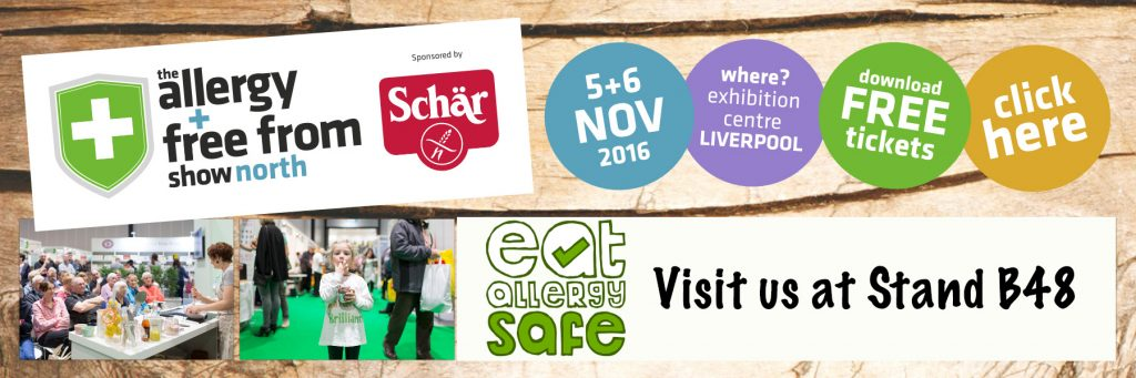 Eat Allergy Safe at the Allergy and Free From Show North, Liverpool 5-6 November 2016